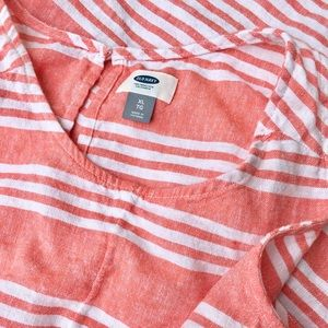 Old Navy Peach and White Striped Dress Size XL